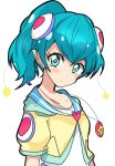 1girl :t alternate_hairstyle antennae blue_eyes blue_hair blush closed_mouth hagoromo_lala haru_(nature_life) jacket jewelry looking_at_viewer necklace pointy_ears ponytail precure shirt short_hair simple_background solo star star_in_eye star_twinkle_precure symbol_in_eye upper_body white_background white_shirt yellow_jacket