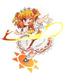 1girl blue_eyes commentary_request fairy fairy_wings fang full_body ini_(inunabe00) light magic mary_janes one_eye_closed open_mouth orange_hair outstretched_arms red_skirt ribbon shirt shoes short_hair skirt smile socks solo standing standing_on_one_leg sunny_milk touhou transparent_background two_side_up white_shirt wings