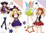 4girls absurdres aikatsu! aikatsu!_(series) black_footwear black_hat blonde_hair blue_wings boots bow braid brown_hair butterfly_wings collarbone corset dress floating_hair flower frilled_skirt frills green_eyes grey_dress hair_flower hair_ornament hat hat_bow hat_feather high_heel_boots high_heels highres holding holding_sword holding_weapon hoshimiya_ichigo index_finger_raised layered_skirt long_hair long_sleeves looking_at_viewer miniskirt multiple_girls natsuki_subaru off-shoulder_shirt off_shoulder official_art one_eye_closed page_number pants pirate_costume pleated_skirt print_dress purple_hat purple_skirt rapier red_bandana red_bow red_eyes red_flower red_ribbon red_skirt ribbon saber_(weapon) shibuki_ran shinjou_hinaki shirt shoes short_dress short_hair short_sleeves single_braid skirt sleeveless sleeveless_dress smile standing star sword thigh-highs thigh_boots twintails very_long_hair violet_eyes weapon white_background white_feathers white_pants white_shirt wings witch witch_hat wrist_cuffs
