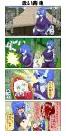 3girls 4koma ahoge apron baby bamboo bamboo_forest black_sclera blue_eyes blue_hair blue_skin blush breasts carrying_over_shoulder chibi club comic commentary_request cutting fangs forest hair_between_eyes hand_on_hip highres holding holding_weapon horns house large_breasts long_hair long_sleeves maid_apron martial_arts mountain multiple_girls nature oni_horns onizuka_ao open_mouth original pacifier pale_skin photo red_eyes red_skin redhead short_hair short_sleeves sidelocks translation_request weapon white_hair wrist_wrap youkai younger yuureidoushi_(yuurei6214)