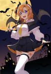 1girl bat belt between_breasts black_hoodie black_skirt black_wings breasts dress_shirt full_moon halloween halloween_costume highres kousaka_honoka koyaya long_sleeves love_live! love_live!_school_idol_project medium_breasts miniskirt moon necktie necktie_between_breasts one_side_up orange_hair pleated_skirt shirt short_hair skirt solo standing thigh-highs white_legwear white_shirt wings yellow_neckwear zettai_ryouiki