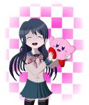 1girl 1other blue_eyes blue_hair blush checkered_background closed_eyes crossover cute danganronpa hal_laboratory_inc. haruka_(pixiv_id_41188112) hoshi_no_kirby kirby kirby_(series) long_hair maizono_sayaka necktie nintendo ohmoto_makiko pink_puff_ball school_uniform seiyuu_connection spike_chunsoft tokyo_mx upper_teeth