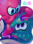 2others animal ayumi_(830890) blue_eyes eye_contact green_skin highres ink inkling looking_at_another multiple_others nintendo no_humans octoling octopus pink_skin sea_creature signature simple_background splatoon splatoon_(series) splatoon_2 squid suction_cups tentacle violet_eyes white_background