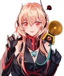 1girl bangs bare_shoulders black_jacket black_jumpsuit blonde_hair blush breasts eyebrows_visible_through_hair fangs girls_frontline gloves gradient_hair hair_between_eyes hands_up headgear heart jacket jumpsuit long_hair long_sleeves looking_at_viewer m4_sopmod_ii_(girls_frontline) medium_breasts mod3_(girls_frontline) multicolored_hair off_shoulder open_mouth red_eyes redhead ribbon ro635_(dinergate) sidelocks silence_girl simple_background smile solo spoken_heart streaked_hair upper_body white_background
