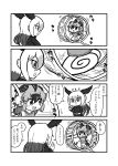 bald_eagle_(kemono_friends) bird_tail bird_wings boots comic greater_roadrunner_(kemono_friends) greyscale hamster_wheel head_wings highres kemono_friends kemono_friends_pavilion kotobuki_(tiny_life) long_hair long_sleeves monochrome pantyhose playground_equipment_(kemono_friends_pavilion) pleated_skirt running shirt shoes short_hair short_sleeves shorts skirt sneakers t-shirt translation_request uniform waving wings