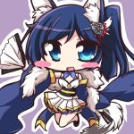 1girl animal_ears azur_lane bangs bare_legs bare_shoulders black_footwear blue_eyes blue_hair blue_sleeves blush cat_ears chibi commentary_request detached_sleeves dress eyebrows_visible_through_hair fan folding_fan geo_(yukishitadou) hair_ornament holding holding_fan jintsuu_(azur_lane) looking_at_viewer one_side_up pleated_dress solo swept_bangs white_dress