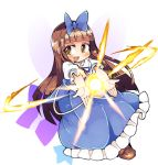 1girl blue_dress boots bow brown_eyes brown_footwear brown_hair commentary_request dress fairy fairy_wings full_body hair_bow ini_(inunabe00) light long_hair magic open_mouth outstretched_arms ribbon smile solo star star_sapphire touhou transparent_background wings