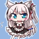 1girl animal_ears azur_lane bangs bare_shoulders black_dress blue_background blue_eyes blush cat_ears cat_girl chibi choker commentary_request detached_sleeves dress eyebrows_visible_through_hair frilled_dress frills geo_(yukishitadou) hammann_(azur_lane) headdress holding_dress long_hair looking_at_viewer one_side_up red_choker silver_hair solo strapless strapless_dress swept_bangs teardrop thigh-highs