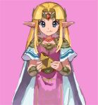 1girl bangle bangs blonde_hair blue_eyes blunt_bangs bracelet closed_mouth crumbs dress eating food_in_mouth forehead_protector gem headpiece jewelry necklace nintendo nyagiratwist pauldrons pink_background pointy_ears princess_zelda shoulder_armor simple_background smile solo super_smash_bros. super_smash_bros._ultimate the_legend_of_zelda the_legend_of_zelda:_a_link_between_worlds triforce