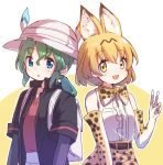 2girls animal_ear_fluff animal_ears backpack bag bare_shoulders belt black_hair blonde_hair blue_eyes blush bow bowtie breast_pocket center_frills commentary_request cowboy_shot elbow_gloves extra_ears eyebrows_visible_through_hair gloves gradient_hair green_hair hat_feather helmet high-waist_skirt highres jacket kaban_(kemono_friends) kemono_friends multicolored_hair multiple_girls nyaa_(nnekoron) pith_helmet pocket print_gloves print_neckwear print_skirt serval_(kemono_friends) serval_ears serval_print serval_tail short_hair short_sleeves skirt sleeveless spoilers tail v yellow_eyes