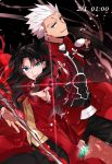 1boy 1girl :d archer black_background black_bow black_hair black_pants black_skirt blue_eyes bow bow_(weapon) bowtie coat fate/stay_night fate_(series) grey_eyes hair_bow long_hair looking_at_viewer oekaki-daisuki-dessu open_mouth pants red_bow red_coat skirt smile sword tohsaka_rin two_side_up weapon white_hair