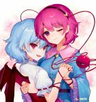 2girls :d ;) ainy77 back_cutout bangs bat_wings belt black_belt black_hairband blue_hair blue_shirt blush breasts commentary_request dress eyebrows_visible_through_hair eyelashes eyeshadow fang frilled_shirt_collar frilled_sleeves frills hair_between_eyes hair_ornament hairband hand_holding head_tilt heart heart_hair_ornament komeiji_satori long_sleeves looking_at_viewer makeup medium_breasts multiple_girls no_hat no_headwear one_eye_closed open_mouth pink_background pink_eyes pink_hair pointy_ears puffy_short_sleeves puffy_sleeves red_eyes remilia_scarlet shirt short_hair short_sleeves slit_pupils smile third_eye touhou upper_body white_dress wide_sleeves wings yuri