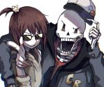 1boy 1other androgynous brown_hair chara_(undertale) hood hoodie open_mouth papyrus_(undertale) short_hair shousan_(hno3syo) skeleton smile source_request undertale