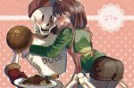 1boy 1other androgynous apron ass basketball blush chara_(undertale) chocolate closed_eyes food hat open_mouth pantyhose papyrus_(undertale) pasta shirt shorts shousan_(hno3syo) skeleton smile source_request spaghetti striped striped_shirt undertale