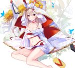1girl atori ayanami_(azur_lane) azur_lane barefoot blonde_hair breasts bug butterfly choker cleavage collarbone eyebrows_visible_through_hair floating_hair groin hair_between_eyes highres insect japanese_clothes kimono long_hair long_sleeves looking_at_viewer medium_breasts midriff navel print_kimono red_eyes sidelocks sitting solo stomach very_long_hair white_kimono