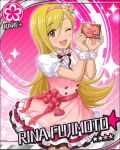 black_eyes blonde_hair blush character_name dress fujimoto_rina idolmaster idolmaster_cinderella_girls long_hair smile stars valentines wink