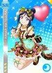 balloon blue_hair blush character_name dress long_hair love_live!_school_idol_festiva; love_live!_sunshine!! matsuura_kanan smile valentines violet_eyes