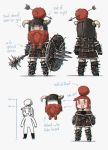 1girl :3 :d absurdres armor armored_boots arrow bangs belt belt_pouch blunt_bangs blush boots braided_beard broken_horn chibi chromatic_aberration commentary directional_arrow dwarf english_text fake_beard fake_facial_hair gauntlets green_eyes hair_bun hair_through_headwear height helmet highres holding holding_shield holding_weapon horned_helmet leather_armor mace multiple_views open_mouth original porforever pouch redhead shield short_hair simple_background smile spiked_armor spiked_gauntlets spiked_mace spiked_shield symbol_commentary tan tanline thick_eyebrows v-shaped_eyebrows weapon white_background