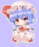 1girl :< angry ascot bangs bat_wings blouse blush bobby_socks brooch chibi detached_wings frilled_shirt_collar frilled_sleeves frills frown hat hat_ribbon jewelry looking_at_viewer mob_cap natsune_ilasuto outline pink_blouse pink_skirt puffy_short_sleeves puffy_sleeves purple_background purple_hair red_eyes red_neckwear remilia_scarlet ribbon shoes short_hair short_sleeves simple_background skirt skirt_hold skirt_set socks solo touhou v-shaped_eyebrows wings wrist_cuffs