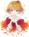 1girl aki_shizuha alternate_costume autumn_leaves blonde_hair cropped_torso hair_ornament hands_on_own_chest highres iris_anemone leaf leaf_background leaf_hair_ornament long_sleeves looking_at_viewer maple_leaf parted_lips shirt short_hair signature sleeves_folded_up solo touhou upper_body white_background white_shirt yellow_eyes