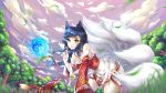 1girl absurdres ahri all_fours animal animal_ears bare_shoulders black_hair breasts chin_kohane cleavage day detached_sleeves facial_mark forest fox fox_ears fox_girl fox_tail grass heart highres huge_filesize korean_clothes large_breasts league_of_legends lips long_hair looking_at_viewer multiple_tails nature no_humans outdoors sky slit_pupils solo tail tree whisker_markings yellow_eyes