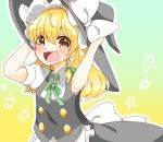 1girl :3 :d apron bangs blonde_hair blush bow braid brown_eyes buttons collared_shirt gradient gradient_background hands_on_headwear hat hat_bow kirisame_marisa large_bow long_hair looking_at_viewer natsune_ilasuto neck_ribbon open_mouth puffy_short_sleeves puffy_sleeves ribbon shirt short_sleeves side_braid simple_background single_braid skirt skirt_set smile solo star touhou vest waist_apron wavy_mouth witch_hat