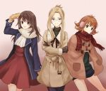 3girls :3 :d alternate_costume arm_up bangs black_eyes black_hair black_ribbon blonde_hair blue_coat blue_eyes brown_gloves brown_hair closed_mouth coat cowboy_shot dress earmuffs final_fantasy final_fantasy_viii flipped_hair glasses gloves gradient gradient_background green_eyes long_hair long_sleeves mittens multiple_girls open_clothes open_coat open_mouth pantyhose plaid plaid_scarf poncho purple_legwear quistis_trepe red_dress red_scarf ribbon rinoa_heartilly sasanomesi scarf selphie_tilmitt short_hair smile straight_hair white_scarf winter_clothes