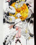 1girl arrow bird bird_request crater feathers full_body full_moon highres holding holding_arrow holding_weapon long_sleeves looking_at_viewer maruti_bitamin moon original pants red_pants shirt short_hair solo traditional_media watercolor_(medium) weapon white_hair white_shirt wings yellow_eyes yellow_moon