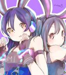 absurdres animal_ears back-to-back bangs bare_shoulders black_gloves black_hair blue_hair blush commentary_request eyebrows_visible_through_hair fake_animal_ears fingerless_gloves gloves hair_between_eyes headset highres long_hair looking_at_viewer love_live! love_live!_school_idol_project parted_lips rabbit_ears red_eyes sonoda_umi twintails upper_body yazawa_nico yellow_eyes