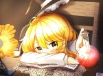 1girl ahoge blonde_hair blush book bottle bow braid chair cork desk desk_lamp hat hat_bow hat_ribbon headwear_removed kirisame_marisa lamp long_sleeves looking_at_viewer natsune_ilasuto paper potion quill resting ribbon scribble side_braid single_braid sitting solo touhou witch_hat yellow_eyes