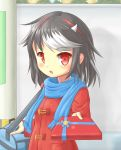 1girl :o alternate_costume arm_up bangs black_hair blue_scarf blush box coat colored_pencil_(medium) commentary_request day duffel_coat eyebrows_visible_through_hair gift gift_box giving gym_bag highres holding holding_box horns kijin_seija looking_at_viewer multicolored_hair outdoors red_coat red_eyes scarf shadow shihasu_toichi short_hair solo standing streaked_hair swept_bangs touhou traditional_media upper_body utility_pole valentine wall