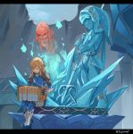 1boy 1girl absurdres accordion alternate_costume blonde_hair blue_bodysuit blue_fire bodysuit closed_eyes earrings fire flat_chest ghost glowing greaves highres instrument jewelry kaeru_(qingwali) link mipha music nintendo no_nipples pauldrons playing_instrument pointy_ears sidelocks singing statue the_legend_of_zelda the_legend_of_zelda:_breath_of_the_wild vambraces zora