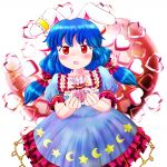 1girl animal_ears arms_up bag blue_dress blue_hair blush chocolate chocolate_heart collarbone commentary_request cowboy_shot crescent crescent_print dress ear_clip eyebrows_visible_through_hair frilled_skirt frills giving heart heart_background highres holding holding_bag kittenup leaning_to_the_side looking_at_viewer low_twintails medium_hair open_mouth puffy_short_sleeves puffy_sleeves rabbit_ears red_eyes seiran_(touhou) shiny shiny_hair short_sleeves skirt solo standing star star_print touhou twintails valentine white_background