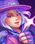 1girl artist_name ashe_(overwatch) cowboy_hat earrings fingerless_gloves gloves hangzhou_spark_ashe hat highres jewelry looking_at_viewer mole necktie open_mouth overwatch overwatch_league pink_eyes solo sparkle teeth white_hair