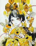1girl bee black_hair black_nails bug clover expressionless eyebrows_visible_through_hair four-leaf_clover hexagon highres honey insect limited_palette long_sleeves looking_at_viewer maruti_bitamin nail_polish original oversized_insect portrait short_hair solo traditional_media watercolor_(medium) wings yellow_eyes