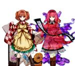 1girl apron aura bell blush book boots checkered checkered_kimono clothes_writing dark_persona darkness dual_persona eyebrows_visible_through_hair forbidden_scrollery hair_bell hair_intakes hair_ornament highres japanese_clothes kimono motoori_kosuzu orange_hair red_eyes scroll short_twintails skirt smile tk31 touhou twintails wide_sleeves