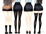 4girls ass back black_footwear black_legwear black_skirt brown_cardigan brown_footwear brown_hair cardigan commentary_request from_behind grey_shirt highres kneehighs legs legs_apart loafers long_hair long_sleeves miniskirt mole mole_on_thigh multiple_girls naruwe no_socks original pantyhose pleated_skirt school_uniform shirt shoes signature simple_background skirt standing thigh-highs white_background zettai_ryouiki
