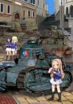 3girls andou_(girls_und_panzer) arl-44 arm_grab artist_name bangs bc_freedom_(emblem) bc_freedom_military_uniform black_footwear black_hair blonde_hair blue_eyes blue_jacket blue_sky blue_vest boots brown_eyes building closed_mouth commentary crossed_arms dark_skin day dress_shirt drill_hair emblem fan folding_fan frog ft-17 girls_und_panzer green_eyes ground_vehicle high_collar highres holding holding_fan jacket light_blush long_hair long_sleeves looking_at_viewer marie_(girls_und_panzer) medium_hair messy_hair military military_uniform military_vehicle miniskirt motor_vehicle multiple_girls oshida_(girls_und_panzer) outdoors pleated_skirt s35 shadow shasu_(lastochka) shirt signature skirt sky smile standing standing_on_one_leg stone_floor tank uniform utility_pole vest white_shirt white_skirt