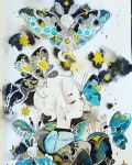 1girl blue_wings bug closed_eyes crescent_moon full_moon grey_wings hand_up highres insect long_sleeves maruti_bitamin moon moon_phases moth original portrait short_hair smile solo standing_on_head traditional_media watercolor_(medium) white_hair wings
