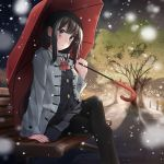 1girl black_cardigan black_hair black_legwear blush bow bowtie checkered checkered_skirt coat grey_coat grey_eyes grey_skirt highres holding holding_umbrella legs_crossed long_hair long_sleeves miniskirt night open_clothes open_coat original oriuo_q outdoors pantyhose parted_lips pleated_skirt red_bow red_neckwear red_umbrella shadow sidelocks sitting skirt snowing solo tree umbrella very_long_hair