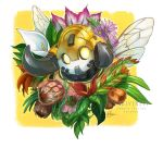 1girl alternate_costume artist_name endivinity flower horns hunters_orisa insect_wings leaf orisa_(overwatch) overwatch overwatch_league robot solo white_background wings yellow_eyes