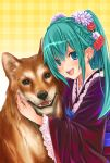 1girl :d @hina animal_print blue_eyes blush braid butterfly_print chinese_zodiac crown_braid dog earrings eyebrows_visible_through_hair flower green_hair hair_between_eyes hair_flower hair_ornament heart heart_earrings highres japanese_clothes jewelry kimono long_hair looking_at_viewer nengajou new_year obi open_mouth original parted_lips plaid plaid_background sash smile twintails year_of_the_dog yellow_background