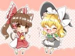2girls :o animal_ears apron ascot blonde_hair blouse blush bow braid brown_hair buttons cat_ears cat_tail chibi detached_sleeves fang frilled_shirt_collar frilled_skirt frills hair_bow hair_ribbon hair_tubes hakurei_reimu hat hat_bow hat_ribbon kemonomimi_mode kirisame_marisa large_bow medium_hair multiple_girls natsune_ilasuto polka_dot polka_dot_background ponytail puffy_short_sleeves puffy_sleeves ribbon ribbon-trimmed_sleeves ribbon_trim shoes short_hair short_sleeves side_braid single_braid skirt skirt_set socks tail touhou v-shaped_eyebrows vest waist_apron wide_sleeves witch_hat yellow_neckwear