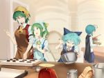 4girls :d ^_^ antennae apron ascot asutora bangs black_cape blue_bow blue_dress blue_eyes blue_hair blue_shorts blush bow bowl breasts brown_apron cape cirno closed_eyes closed_eyes commentary_request cowboy_shot daiyousei dress eyebrows_visible_through_hair fairy_wings green_apron green_eyes green_hair hair_between_eyes hair_bow hand_up head_scarf holding holding_bowl index_finger_raised indoors kazami_yuuka large_breasts long_sleeves looking_at_another measuring_cup medium_breasts mixing_bowl multiple_girls one_side_up open_mouth pinafore_dress plaid plaid_skirt plaid_vest red_skirt red_vest shirt short_hair short_sleeves shorts skirt skirt_set smile standing touhou upper_body v-shaped_eyebrows vest weighing_scale whisk white_shirt wings wriggle_nightbug yellow_neckwear