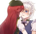 2girls bangs beret black_neckwear black_ribbon blue_dress blue_eyes blush bow braid chinese_commentary commentary_request dress eyebrows_visible_through_hair from_behind green_bow green_hat green_vest hair_between_eyes hair_bow hat hong_meiling izayoi_sakuya liangyilin long_hair looking_at_another maid maid_headdress multiple_girls neck_ribbon nose_blush parted_lips puffy_short_sleeves puffy_sleeves redhead ribbon shirt short_sleeves silver_hair simple_background smile sweat touhou twin_braids upper_body vest white_background white_shirt wing_collar yuri