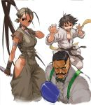 >:o 2girls antenna_hair baggy_pants bandanna belt black_belt black_hair bow bowtie boxing boxing_gloves bra choker closed_mouth collared_shirt covered_mouth dark_skin dark_skinned_male dougi dual_wielding dudley facial_hair fighting_stance hair_pulled_back hands_up hip_vent holding holding_weapon ibuki_(street_fighter) kunai long_hair looking_at_viewer makoto_(street_fighter) morisawa_haruyuki multiple_girls muscle mustache ninja open_mouth pants red_bra ribbon_choker serious shirt short_hair simple_background sports_bra standing street_fighter street_fighter_iii_(series) suspenders tomboy underwear very_long_hair weapon white_background white_shirt