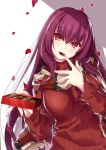 1girl bangs blush box breasts chocolate closed_mouth eyebrows_visible_through_hair fate/grand_order fate_(series) gift gift_box hair_between_eyes highres large_breasts long_hair long_sleeves looking_at_viewer mouth_hold outstretched_arm petals purple_hair red_eyes red_sweater ribbed_sweater scarf scathach_(fate)_(all) scathach_(fate/grand_order) shade solo sweater turtleneck turtleneck_sweater valentine white_background yoshida_takuma
