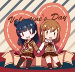 2girls :d argyle argyle_sweater black_legwear blue_hair blush brown_eyes brown_footwear brown_hair brown_jacket brown_neckwear brown_sailor_collar brown_skirt brown_sweater chibi commentary_request dated diagonal_stripes fang hair_bun hair_ornament heart heart_hair_ornament jacket kunikida_hanamaru langbazi letterman_jacket long_hair love_live! love_live!_sunshine!! multiple_girls neckerchief open_mouth plaid plaid_skirt pleated_skirt red_neckwear sailor_collar school_uniform serafuku shoe_soles shoes signature skirt smile socks striped sweater thigh-highs tsushima_yoshiko valentine white_sailor_collar