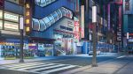 akihabara_(tokyo) arsenixc artist_name car city commentary copyright_name crosswalk escalator ground_vehicle highres lamppost love_money_rock'n'roll motor_vehicle motorcycle night no_humans original outdoors real_world_location road scenery shop sidewalk sign storefront street television tokyo_(city) watermark