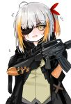 1girl absurdres ahoge assault_rifle bangs black_gloves black_jacket blush brown_eyes brown_shirt commentary_request dokomon eyebrows_visible_through_hair eyepatch fang flying_sweatdrops girls_frontline gloves gun hair_ribbon head_tilt highres holding holding_gun holding_weapon jacket korean_commentary long_hair looking_at_viewer m16 m16a1_(girls_frontline) m16a1_(girls_frontline)_(boss) multicolored_hair object_namesake one_side_up open_clothes open_jacket open_mouth orange_hair red_ribbon redhead ribbon rifle shirt silver_hair simple_background solo streaked_hair sweat upper_body weapon white_background